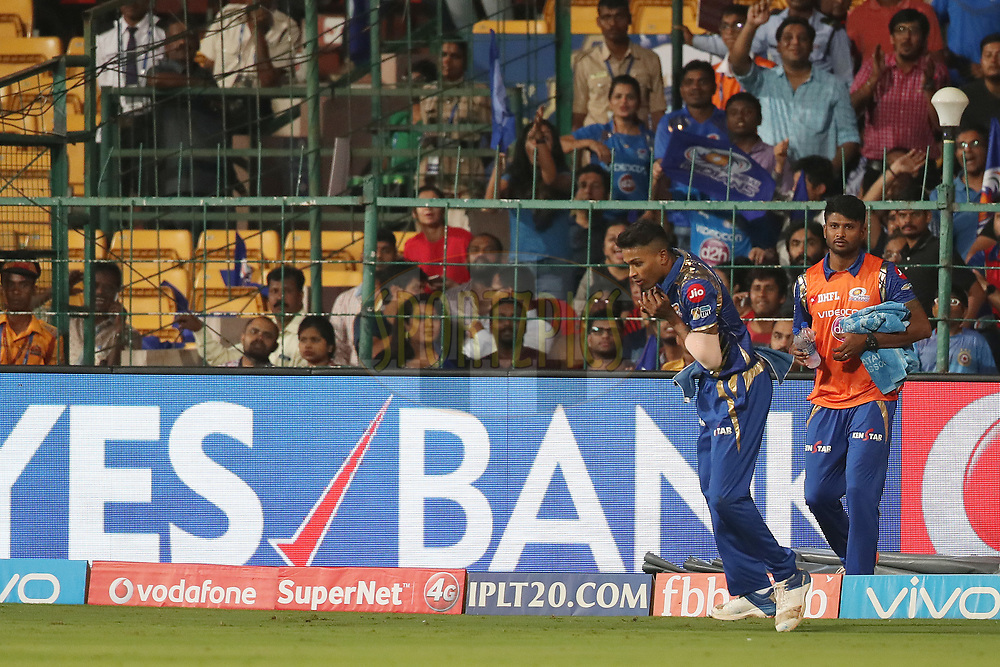 Hardik Pandya of the Mumbai Indians takes the catch to dismiss Kolkata Knight Riders captain Gautam Gambhir during the 2nd qualifier match of the Vivo 2017 Indian Premier League between the Mumbai Indians and the Kolkata Knight Riders held at the M.Chinnaswamy Stadium in Bangalore, India on the 19th May 2017<br /> <br /> Photo by Ron Gaunt - Sportzpics - IPL