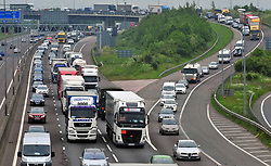 © Licensed to London News Pictures.25/05/2018<br /> DARTFORD, UK.<br /> May Bank Holiday traffic madness has started.<br /> Bank Holiday getaway traffic chaos on the M25 in Dartford, Kent.  Anti-Clockwise towards Essex.   Slip road from A2 (RIGHT)<br /> Photo credit:Grant Falvey/LNP