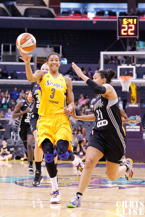 22 June 2014: forward/center Candace Parker (3) of the Los Angeles Sparks passes the ball over guard/forward Kayla McBride (21) of the San Antonio Stars on a fast break during the San Antonio Stars 72-69 victory over the Los Angeles Sparks, at the Staples Center, Los Angeles, California, USA.