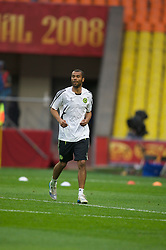 MOSCOW, RUSSIA - Tuesday, May 20, 2008: Chelsea's Ashley Cole during training ahead of the UEFA Champions League Final against Manchester United at the Luzhniki Stadium. (Photo by David Rawcliffe/Propaganda)