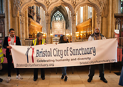 "© Licensed to London News Pictures. 10/12/2016. Bristol, UK. Bristol is asked to Embrace Diversity on International Human Rights Day, welcoming humanity and diversity and building stronger communities to resist racism in Bristol as the focus of key events commemorating International Human Rights Day on Saturday 10th December 2016. There was a Sanctuary Walk from the Malcolm X Community Centre in St Pauls, headed by representatives of all Bristol's civic leaders, through the city centre to Bristol Cathedral. The two part event was organised by Bristol City of Sanctuary and local charity Bristol Refugee Rights. Revd Richard McKay, Chair of Bristol City of Sanctuary says, ""This walk will send out a clear message that Bristol is a City of Sanctuary and that we welcome refugees and asylum seekers in our beautiful city. We are walking to show welcome to those seeking sanctuary in our city. We are walking to join with other proud Bristolians to say that we are a city of diversity that treasures human rights."" Photo credit : Simon Chapman/LNP"