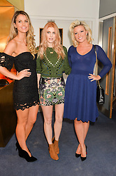 Left to right, VOGUE WILLIAMS, ASHLEY JAMES and NATALIE COYLE at a private screening of Eating Happiness in association with the World Dog Alliance held at Mondrian London, 20 Upper Ground, London on 25th January 2016.