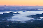 Fog blankets portions of the Shenandoah valley near Lexington, Virginia