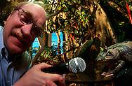 DEU, Deutschland: Biologe Dr. Andreas Schlüter hält ein Mikrofon vor ein Froschpräparat, Dr. Schlüter untersucht in Südamerika Laute von Fröschen an einem ganz bestimmten Tümpel. Dieser Tümpel wurde im Staatlichen Museum für Naturkunde, Stuttgart nahezu komplett nachgebildet, Lautforschung, Staatliches Museum für Naturkunde, Stuttgart, Baden-Württemberg | DEU, Germany: Biologist Dr. Andreas Schlueter holding a microphone in front of a frog preparation, Dr. Schlueter analysing in South America sounds of frogs at a special tarn, this tarn is reconstructed in the Natural History Museum, Stuttgart, Baden-Wuerttemberg |