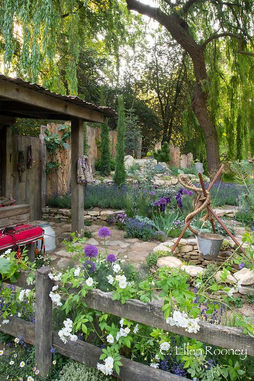 The Donkey Sanctuary: Donkeys Matter, an artisan garden at the RHS Chelsea Flower Show 2019, London, UK