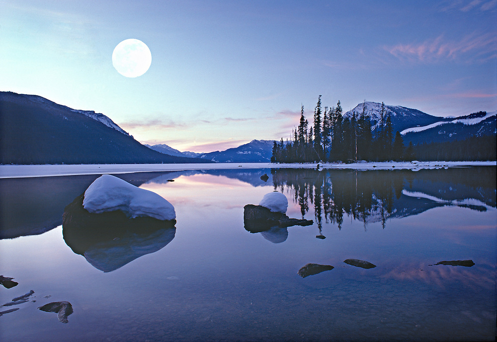 Winter Moonset over Lake Wenatchee, Washington State