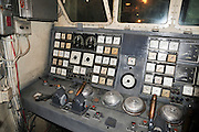 Israel, Haifa, The Clandestine Immigration and Navy Museum Interior of the Israeli Navy Missile boat INS Mivtach The bridge