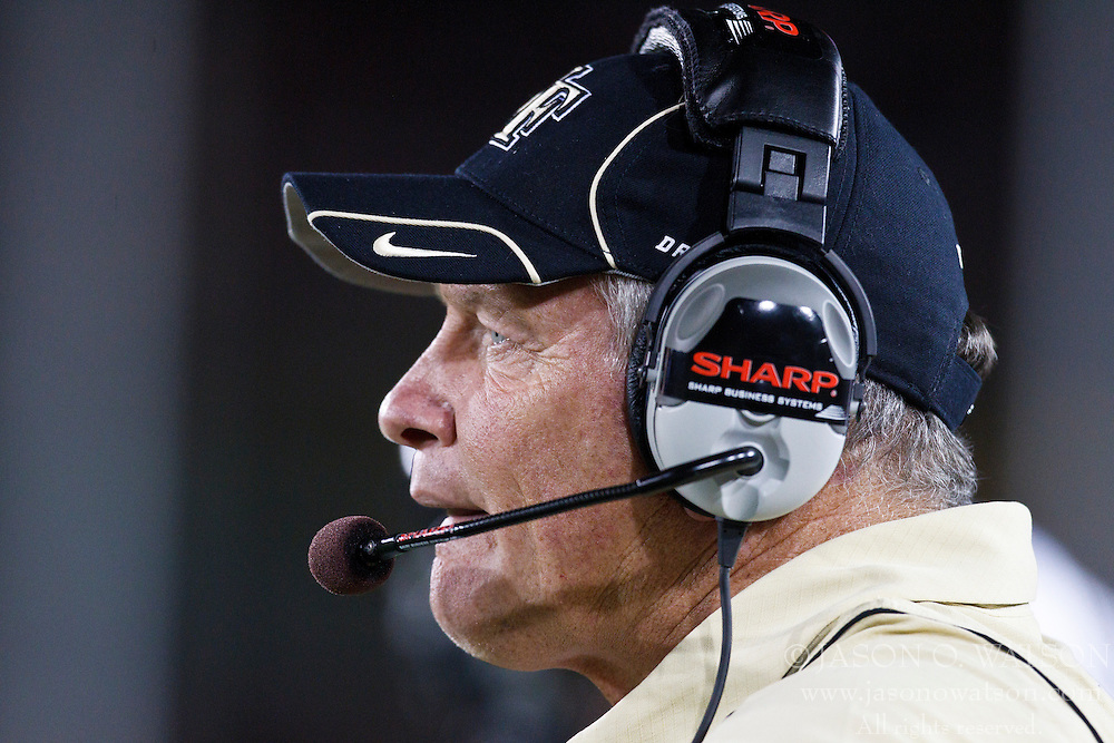 September 18, 2010; Stanford, CA, USA; Wake Forest Demon Deacons head coach Jim Grobe watches the game during the first quarter against the Stanford Cardinal at Stanford Stadium. Stanford defeated Wake Forest 68-24.