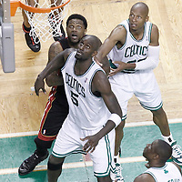 03 June 2012: Miami Heat power forward Udonis Haslem (40), Boston Celtics power forward Kevin Garnett (5), Boston Celtics shooting guard Ray Allen (20) and Boston Celtics small forward Mickael Pietrus (28) eye the ball during the Boston Celtics 93-91 overtime victory over the Miami Heat, in Game 4 of the Eastern Conference Finals playoff series, at the TD Banknorth Garden, Boston, Massachusetts, USA.