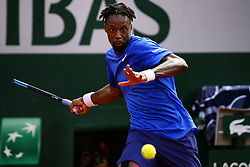 May 30, 2019 - Paris, France - France's Gael Monfils plays a forehand return to France's Adrian Mannarino during their men's singles second round match on day five of The Roland Garros 2019 French Open tennis tournament in Paris on May 30, 2019. (Credit Image: © Ibrahim Ezzat/NurPhoto via ZUMA Press)