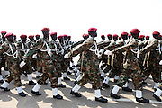 SPLA soldiers run through a rehearsal of independence ceremonies at the Garang Masoleum on July 5, just four days before the country officially is born..
