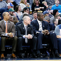 04 March 2016: Denver Nuggets assistant coach Chris Fleming,  Wes Unseld Jr., Denver Nuggets head coach Michael Malone, Denver Nuggets assistant coach Ed Pinckney are seen on the bench during the Brooklyn Nets 121-120 victory over the Denver Nuggets, at the Pepsi Center, Denver, Colorado, USA.