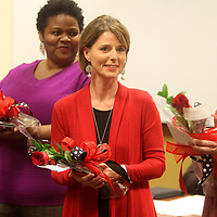 Cindy Wilkins, from Guntown Middle School, is announced as the Lee County School District's Teacher of the Year Tuesday night during a Lee County School board meeting.
