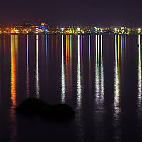The lights of Port Burgas reflected in the sea