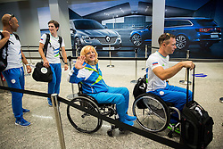 Veselka Pevec, Primoz Jeralic during departure of Slovenian Paralympic Team to Paralympic Games Rio 2016, on August 31, 2016, in Airport Joze Pucnik, Brnik, Slovenia. Photo by Vid Ponikvar / Sportida