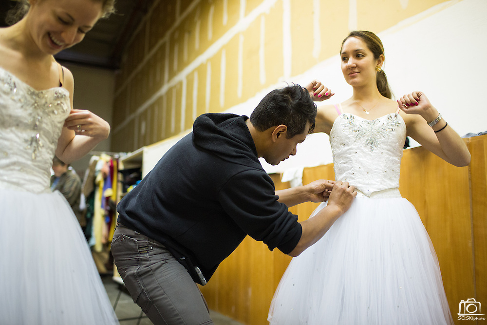Bay Pointe Ballet dancers get measured and try on costumes during Nutcracker costume fittings at Bay Pointe Ballet in South San Francisco, California, on October 27, 2013. (Stan Olszewski/SOSKIphoto)