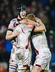 Sale Number 8 James Gaskell celebrates at the final whistle as his side win 11-12 - Photo mandatory by-line: Rogan Thomson/JMP - 07966 386802 - 28/03/2014 - SPORT - RUGBY UNION - The Recreation Ground, Bath - Bath Rugby v Sale Sharks - Aviva Premiership.