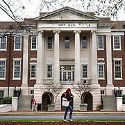 TUSCALOOSA,AL-JAN15: Nott Hall, which houses the honors college at the University of Alabama campus in Tuscaloosa, is named after physician and scientist Josiah C. Nott, who espoused scientific racism and eugenics, January 15, 2016. The University of Alabama, founded in 1831, once served mainly Alabama students as the state's flagship institution. Now more than 60 percent of entering freshmen come from out of state. The university has had one of the largest shifts toward out-of-state enrollment in the country in the past decade. (Photo by Evelyn Hockstein/For The Washington Post)