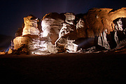 Timna valley is illuminated at night during an audio visual presentation. Photographed at Timna park, Israel