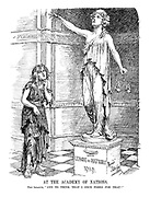 "At the Academy of Nations. The League. ""And to think that I once posed for that!"" (The real League of Nations looks on in tattered clothes and unkempt hair at her statue from 1919)"