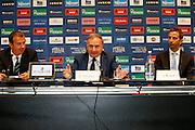 Milano 24 Luglio 2013<br /> Basket Europei Maschili 2013/2014<br /> Media Day Nazionale Italiana Pallacanestro Maschile<br /> nella foto Pianigiani Petrucci Prandi<br /> foto Ciamillo