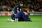 Tom Lawrence of Derby County receives treatment during the EFL Sky Bet Championship match between Barnsley and Derby County at Oakwell, Barnsley, England on 2 October 2019.