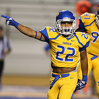 Tupelo's Keaton Cager lets his coaches know that Tupelo has recovered a fumble in the second quarter against Southaven Friday night.