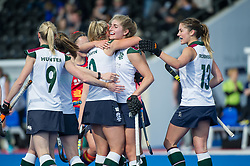 Surbiton celebrate scoring their third goal. University of Birmingham v Surbiton - Semi-Final - Investec Women's Hockey League Finals, Lee Valley Hockey & Tennis Centre, London, UK on 22 April 2017. Photo: Simon Parker