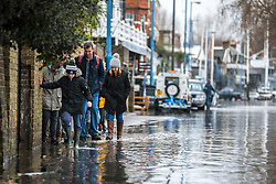 © Licensed to London News Pictures. 02/01/2018. London, UK. A family makes their way around flood water that has covered the roads along the embankment at Putney in West London where the River Thames has broken its banks. Photo credit: Rob Pinney/LNP