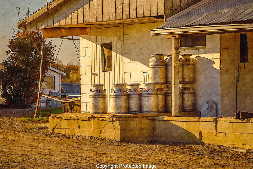 Milk cans ready for use on an Amish farm.