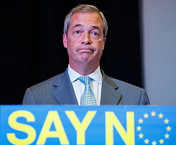 © Licensed to London News Pictures. 30/07/2015. London, UK. UKIP leader Nigel Farage gives a speech on how the No campaign can win the EU referendum at Emmanuel Centre in central London on Thursday, July 30, 2015. Photo credit: Tolga Akmen/LNP