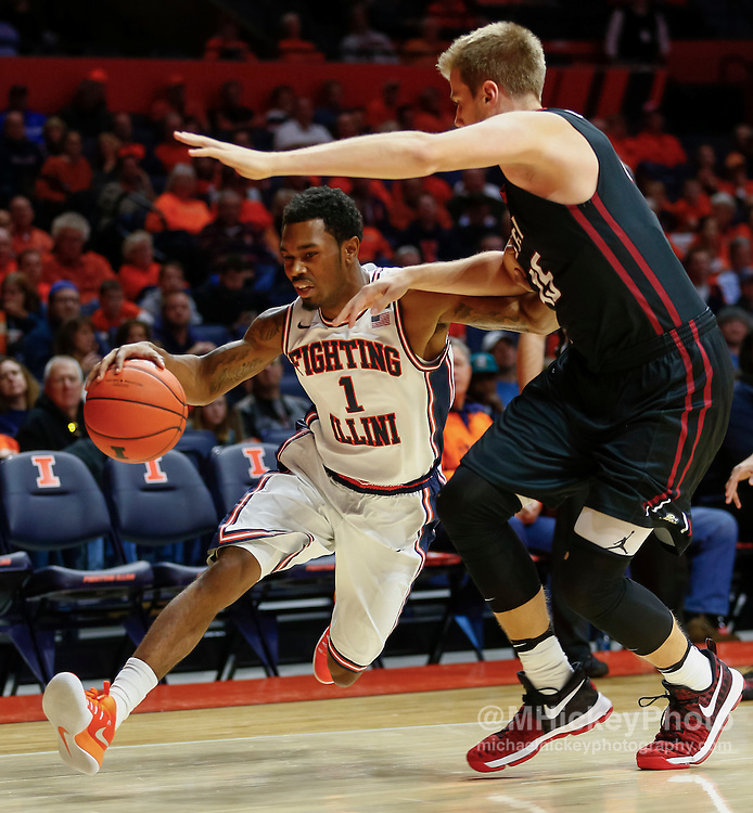 CHAMPAIGN, IL - DECEMBER 06: Jaylon Tate #1 of the Illinois Fighting Illini drives to the basket against Aaron Brennan #45 of the IUPUI Jaguars at State Farm Center on December 6, 2016 in Champaign, Illinois.  (Photo by Michael Hickey/Getty Images) *** Local Caption *** Jaylon Tate; Aaron Brennan