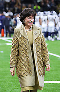 Jan 20, 2019; New Orleans, LA, USA; New Orleans Saints owner Gayle Benson smiles before her team plays the Los Angeles Rams in the NFC Championship at Mercedes-Benz Superdome. The Rams beat the Saints in overtime 26-23 and head to Super Bowl 53 in Atlanta. (Steve Jacobson/Image of Sport)