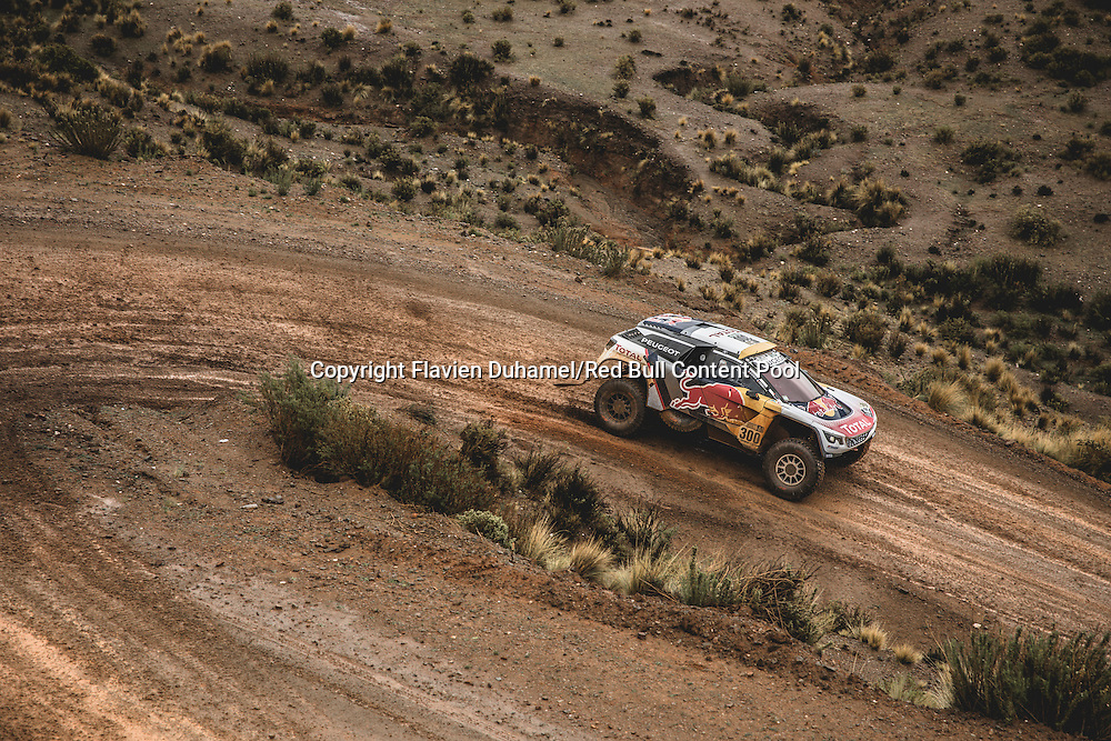 Stephane Peterhansel (FRA) of Team Peugeot TOTAL races during stage 5 of Rally Dakar 2017 from Tupiza to Oruro, Bolivia on January 6, 2017. // Flavien Duhamel/Red Bull Content Pool // P-20170106-00188 // Usage for editorial use only // Please go to www.redbullcontentpool.com for further information. //