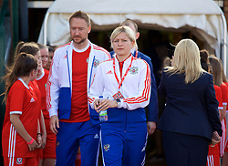NEWPORT, WALES - Tuesday, June 12, 2018: Russia's head coach Elena Fomina during the FIFA Women's World Cup 2019 Qualifying Round Group 1 match between Wales and Russia at Newport Stadium. (Pic by David Rawcliffe/Propaganda)