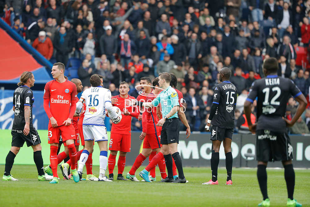 Jean-Louis LECA (SC Bastia) is against Marco Verratti (psg) scored the second goal and celebrated it during the French championship Ligue 1 football match between Paris Saint-Germain (PSG) and Bastia on May 6, 2017 at Parc des Princes Stadium in Paris, France - Photo Stephane Allaman / ProSportsImages / DPPI