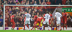 LIVERPOOL, ENGLAND - Thursday, November 26, 2015: FC Girondins de Bordeaux's Henri Saivet scores the first goal against Liverpool from an indirect free-kick in the penalty area during the UEFA Europa League Group Stage Group B match at Anfield. (Pic by David Rawcliffe/Propaganda)