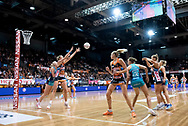 SYDNEY, NSW - JUNE 22: Caitlin Bassett of the Giants catches the ball during the round 9 Super Netball match between the Giants and the Vixens at Quaycentre on June 22, 2019 in Sydney, Australia. (Photo by Speed Media/Icon Sportswire)