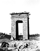 Karnak temple complex at Thebes (Luxor). Photograph  of north gate taken during the French archaeological mission to Egypt led by Emmanuel Rouge (1811-1872).   Ancient Egyptian
