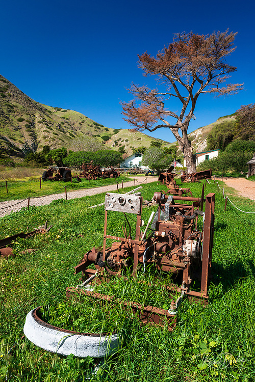 Historic ranch equipment at Scorpion Ranch, Santa Cruz Island, Channel Islands National Park, California USA