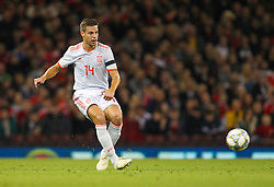 October 11, 2018 - Cardiff City, Walles, United Kingdom - Cardiff, Wales October 11, ..Cesar Azpilicueta of Spain in action during Exhibition Match between Wales and Spain at Principality stadium, Cardiff City, on 11 Oct  2018. (Credit Image: © Action Foto Sport/NurPhoto via ZUMA Press)