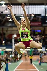 "New Balance High School Indoor National Championships, girls long jump, Kate Hall, Lake Region HS, Maine, wins meet record 20'11-1/4"""