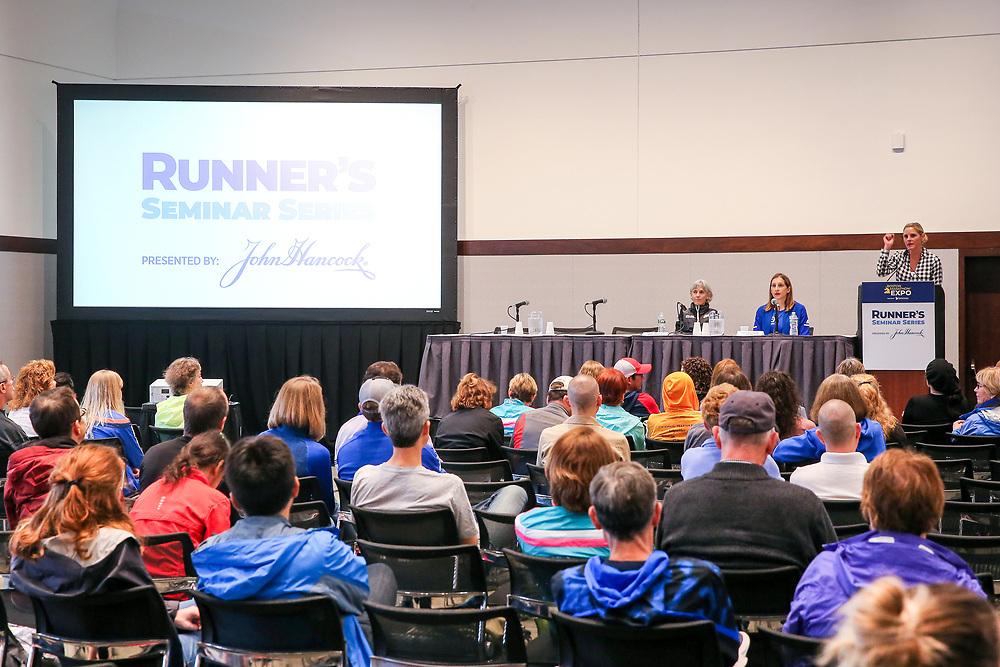 Abbott World Marathon Majors<br /> at Boston Marathon weekendJoan Samuelson and Pam Nisevich Bede panel<br /> Abbott World Marathon Majors<br /> at Boston Marathon weekend