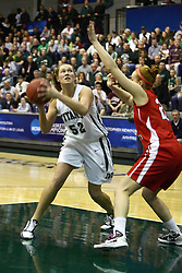 18 March 2011: Stacey Arlis eyes the hoop over Hannah Cusworth during an NCAA Womens basketball game between the Washington University Bears and the Illinois Wesleyan Titans at Shirk Center in Bloomington Illinois.