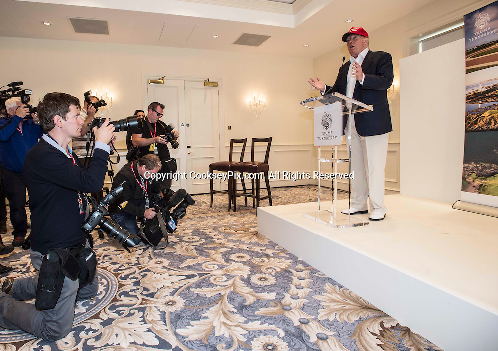 Picture by Christian Cooksey/CookseyPix.com . Standard repro rate apply.<br /> <br /> US presidential hopeful Donald Trump holds a press conference at Trump Turnberry in Ayrshire, Scotland on the opening day of the Ricoh Women's British Open which is at Trump Turnberry.