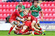 Gareth Davies of Scarlets in action during todays match<br /> <br /> Photographer Craig Thomas/Replay Images<br /> <br /> Guinness PRO14 Round 3 - Scarlets v Benetton Treviso - Saturday 15th September 2018 - Parc Y Scarlets - Llanelli<br /> <br /> World Copyright &copy; Replay Images . All rights reserved. info@replayimages.co.uk - http://replayimages.co.uk