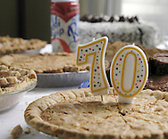 One of several desserts available is this one celebrating a members 70th birthday during the 41st Weston Memorial Tennis Tournament at the Virginia Hollinger Memorial Tennis Club, Monday, May 26, 2008.