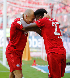 18.05.2019, Allianz Arena, Muenchen, GER, 1. FBL, FC Bayern Muenchen vs Eintracht Frankfurt, 34. Runde, im Bild Arjen Robben und David Alaba // during the German Bundesliga 34th round match between FC Bayern Muenchen and Eintracht Frankfurt at the Allianz Arena in Munich, Germany on 2019/05/18. EXPA Pictures © 2019, PhotoCredit: EXPA/ SM<br /> <br /> *****ATTENTION - OUT of GER*****