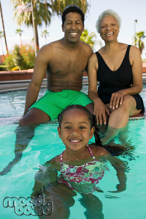 """""""Granmother, Son, and Granddaugther Together in Pool"""""""