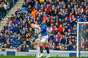 Nikola Katic of Rangers FC & Sam Cosgrove of Aberdeen FC challenge for the ball during the Ladbrokes Scottish Premiership match between Rangers and Aberdeen at Ibrox, Glasgow, Scotland on 27 April 2019.